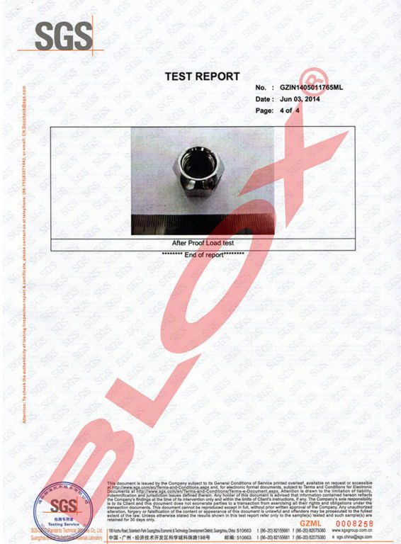SGS Strength Tested Report for our M12x1.5 Wheel Lug Nuts-4
