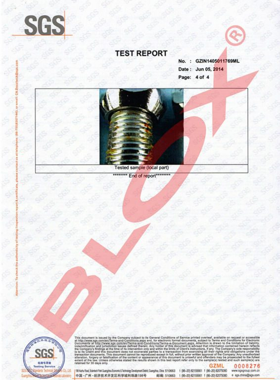 SGS Anti-Rust Tested Report(72 Hours NSS) for BoltsStudsNuts-4