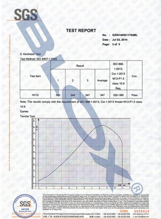 SGS Strength Tested Report for our M121.5 Wheel Studs-3