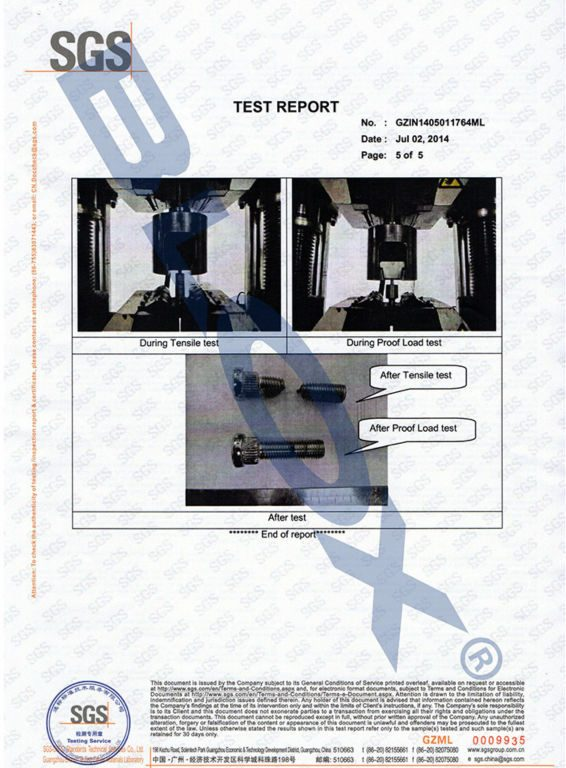 SGS Strength Tested Report for our M121.5 Wheel Studs-5